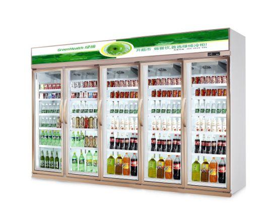 5 Doors Upright Display Fridge for Supermarket/Shopping Mall