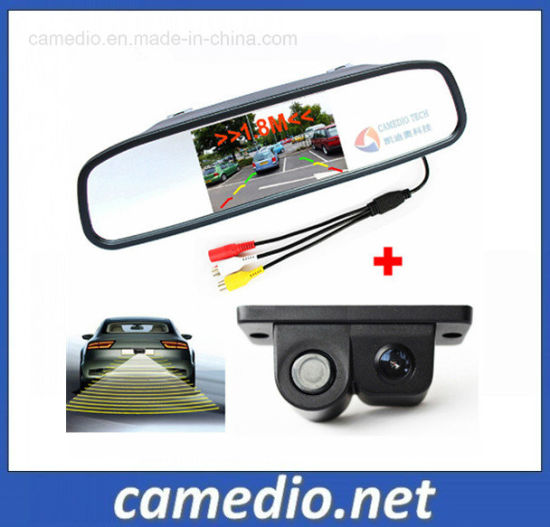 4.3 inch LCD Backup RearView Mirror Monitor Kit with Reverse HD Camera 2 Inputs