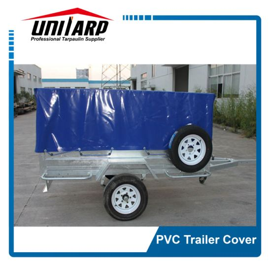 Europe Popular Blue 520GSM Logo Printing PVC Trailer Cover pictures & photos