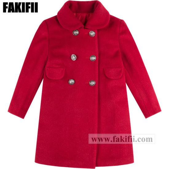 Customised Manufacturing Top Quality Children Clothes Baby Clothing Girl Red Wool Coat Wool Apparel pictures & photos