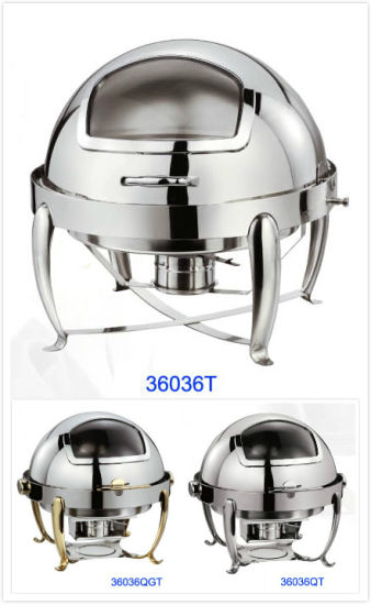 China Round Roll-Top Chafing Dish Set with Glass Window Lid (36036T/36036QT/36036QGT) - China Chafing Dish and Buffet Furnace price