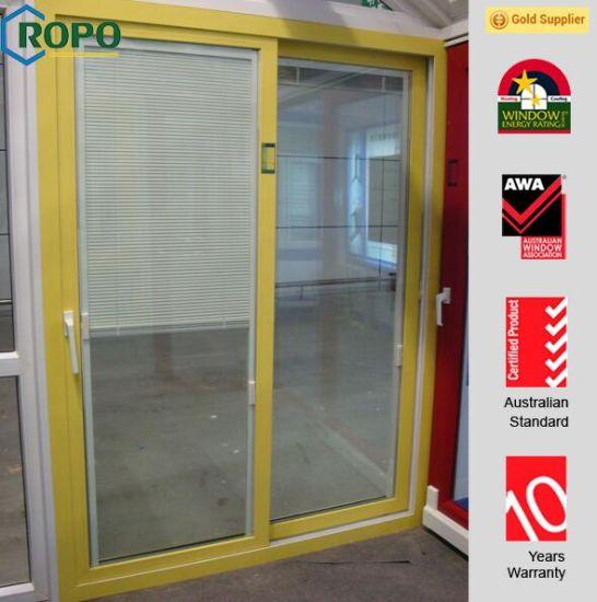 China German Style Yellow Color Upvc Frame Tilt Sliding Glass