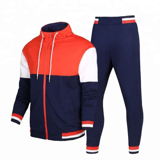 Wholesale Custom Men Sports Wear Tracksuit Jacket Trousers Hoodie Stand Collar Two Pieces
