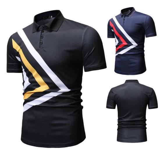Men's Slim Fit Lapel Neck Casual Printed Cotton Polo Shirt