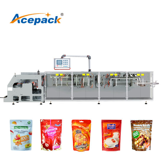 Granule Salt Nuts Chips Snack Chocolate Beef Jerky Dates Chips Popcorn Beans Grain Biscuit Food Rotary Premade Doypack Bagging Pouch Bag Packing Machine