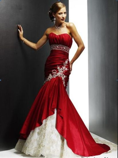 China Strapless Red Satin Bridal Wedding Dress Sweetheart Gold