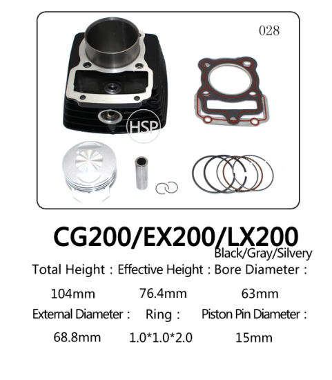 High Quality Scooter Engine Parts Motorcycle Cylinder Block Kit for Honda CG200 EX200 LX200 LARGE1 65.5mm LARGE2 65.5mm