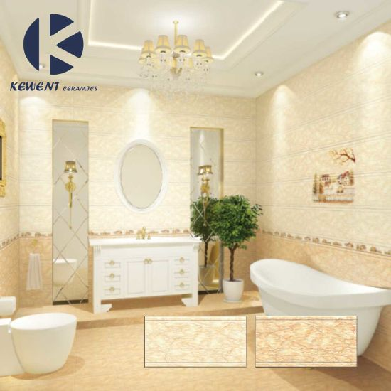 Yellow Glazed Marble Look Bathroom Wall Ceramic Tile