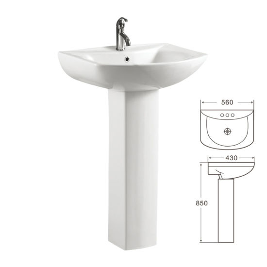 Genial Floor Standing Ceramic Pedestal Sink For Lavatory (619)