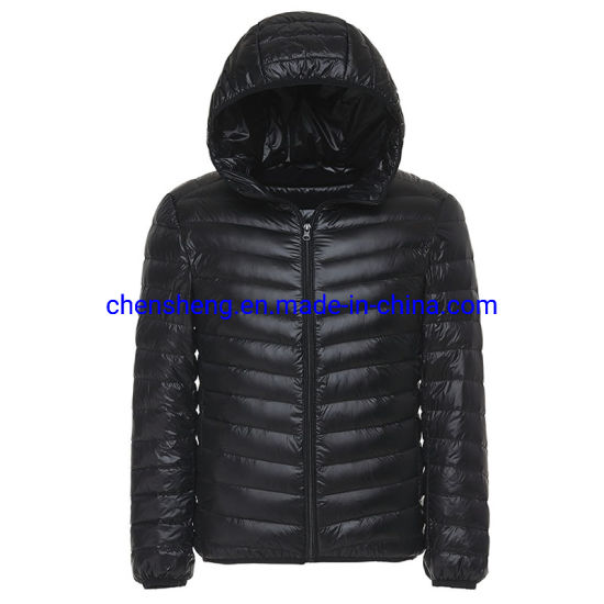 Stock Cheap Men's Light Down Jacket with Hoodie Windproof Ultralight Feather Down Jacket