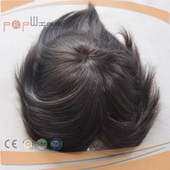 Dark Brown Color Full PU Toupee (PPG-l-0579) pictures & photos