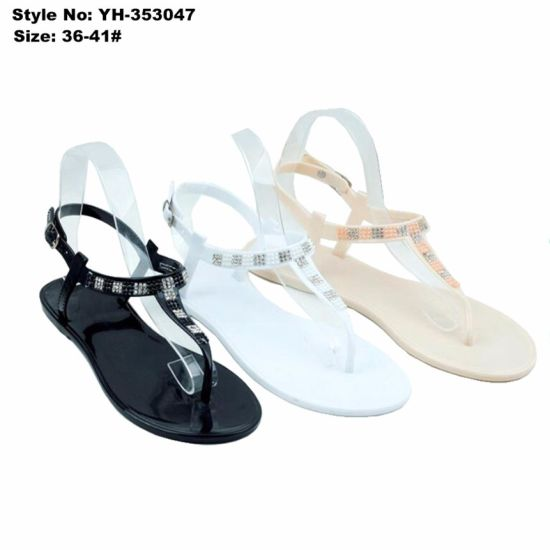 035761420470 China Trendy Women Ladies Flat Clip Toe PVC Sandal with Rhinestone ...