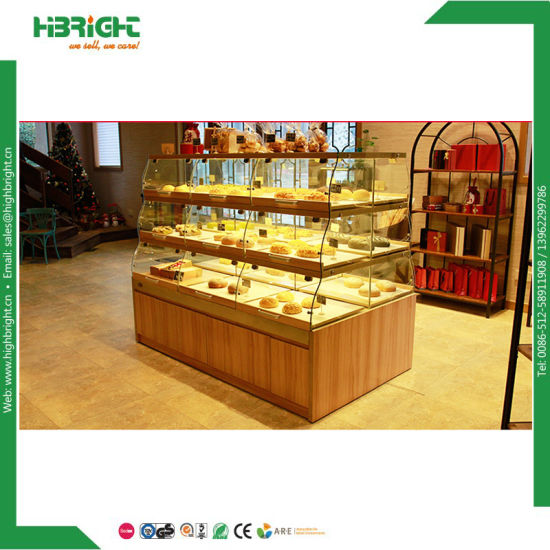 Hot Item Wood Bread Display Stand Bakery Candy Display Rack