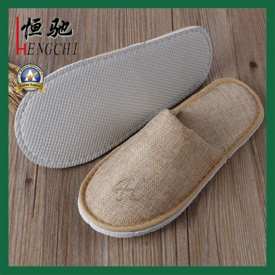 1049f8f83b24 China Cotton Hessian Reusable Guest Use Hotel Men Slipper - China ...