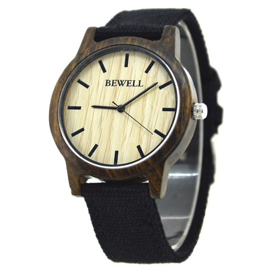 Custom Manufacturer Bamboo Wood Watch Japan Movement with Canvas Strap Promotion Gift Watch Bewell Business Wrist Watch
