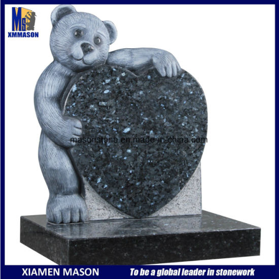 Teddy Bear Blue Pearl with Heart Granite Headstones for Children pictures & photos