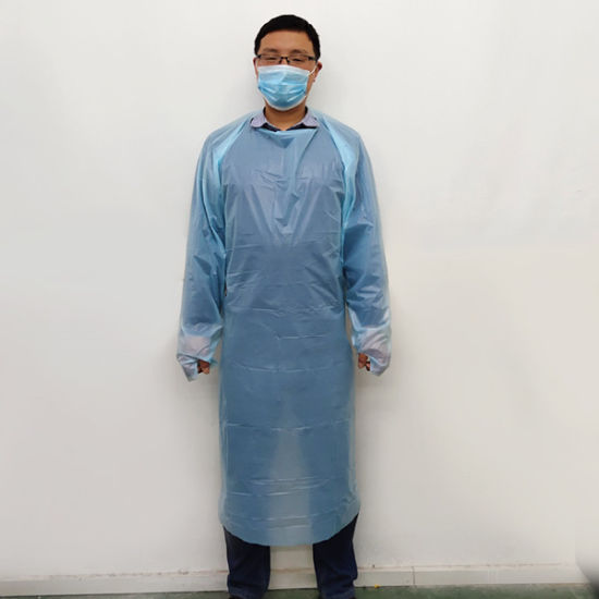 Disposable Plastic Thumb Loop Impervious CPE Apron Isolation Gown