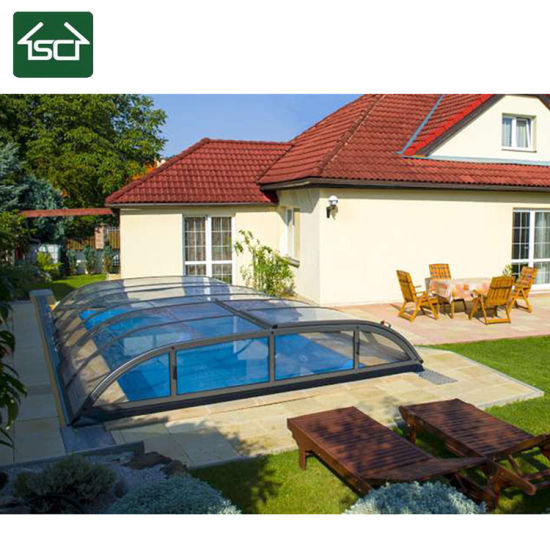 Retractable Swimming Pool Cover With Polycarbonate Roofing