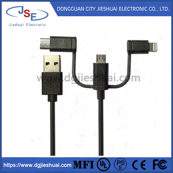 Mfi Certified TPE Shell 3 in 1 Charge and Sync USB Cable for Android for iPhone