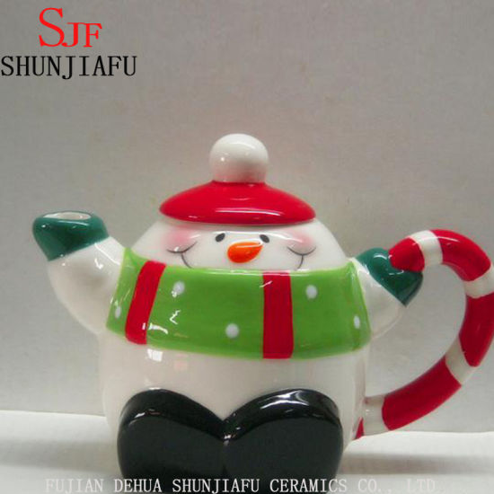 christmas ceramic snowman teapot with green scarf on lid - Christmas Ceramics