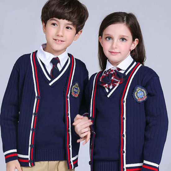 High Quality OEM Kids Fashion Uniform with Cable Knitting