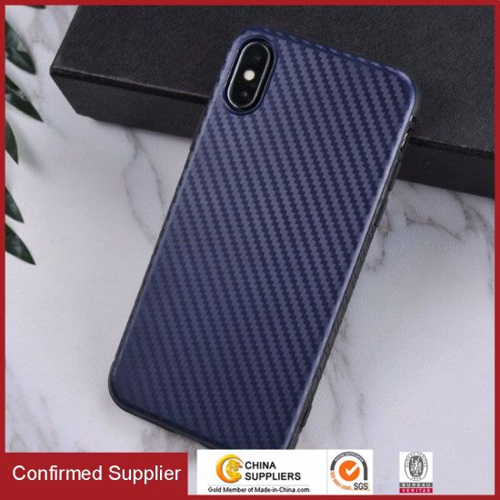 Qualifiied Carbon Fiber Texture Flexible TPU Cover for iPhone X