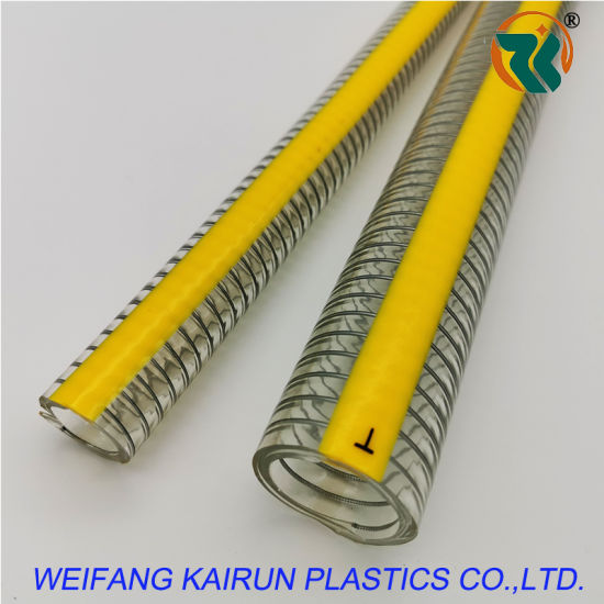 High Quality Multi-Purpose Clear PVC Steel Wire Hoses with Yellow Lines
