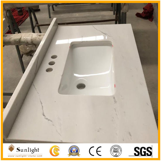 Artificial Calacatta White Quartz Stone Countertops for Kitchen/ Bathroom Project