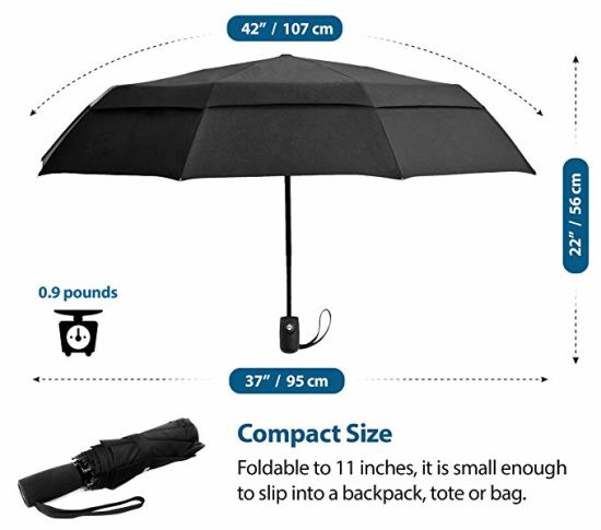 Windproof Double Canopy Construction Auto Open Close Compact Travel 3 Fold Umbrella Pockets Size Pictures
