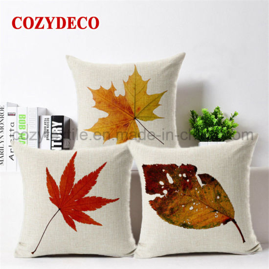 China Maple Leaf Printing Throw Pillow Case/ Bed Sofa Pet