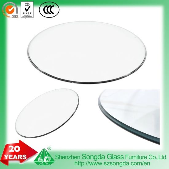 Round Glass Table Top, Tempered, Flat, Beveled, Og, Pencil Edge Polished,  Furniture Tops
