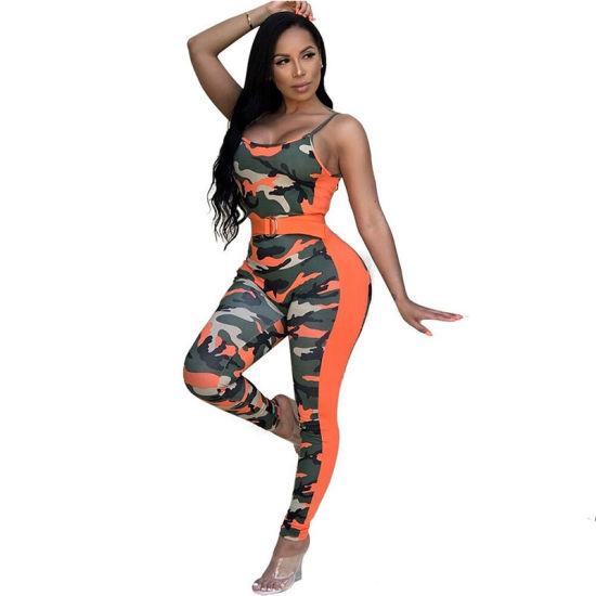 L5519 Camouflage Printed Skinny Orange One-Piece Jumpsuit