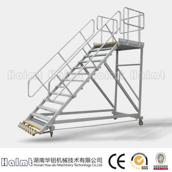 Industrial Mobile Aluminum Platform Step Ladder
