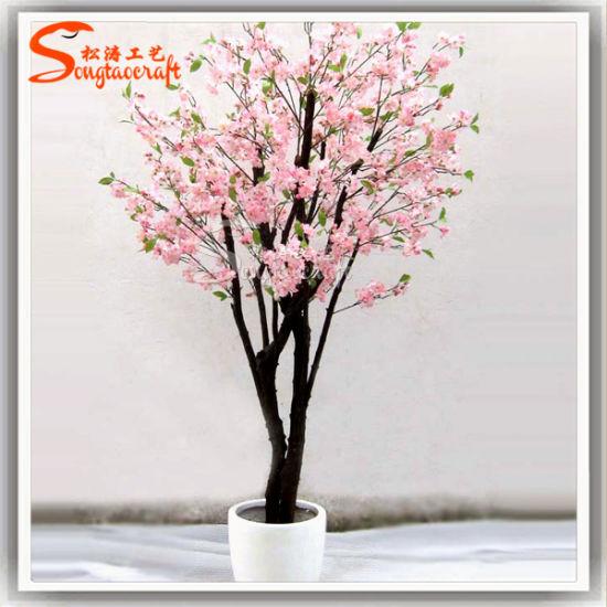 Artificial Plastic Fake Peach Blossom Bonsai Tree