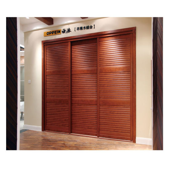 China Oppein Modern Nut Brown 3 Louver Sliding Doors Wardrobe