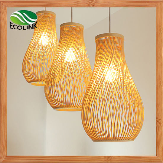 Three Pieces Countryside Style Decorative Pendant Lamp with Bamboo Lampshade pictures & photos