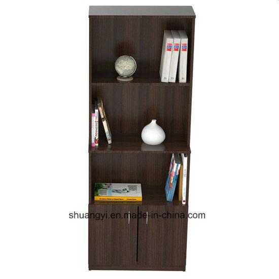 Espresso Wengue Color Bookcase With Storage Area