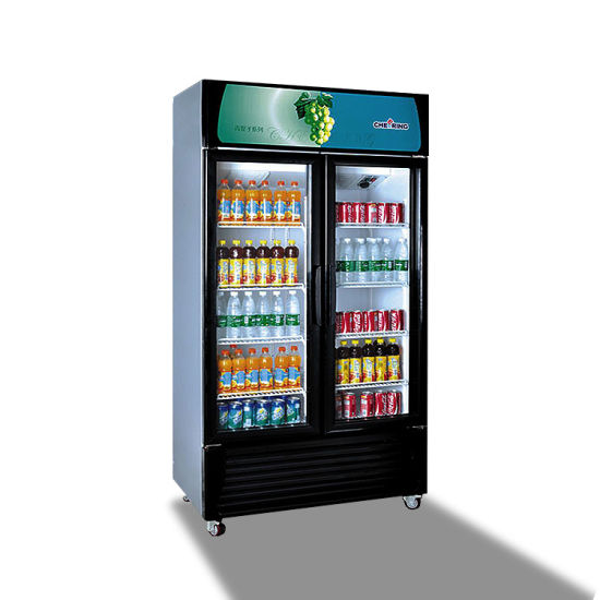 China Commercial 2 Glass Door Upright Beverage Display Refrigerator