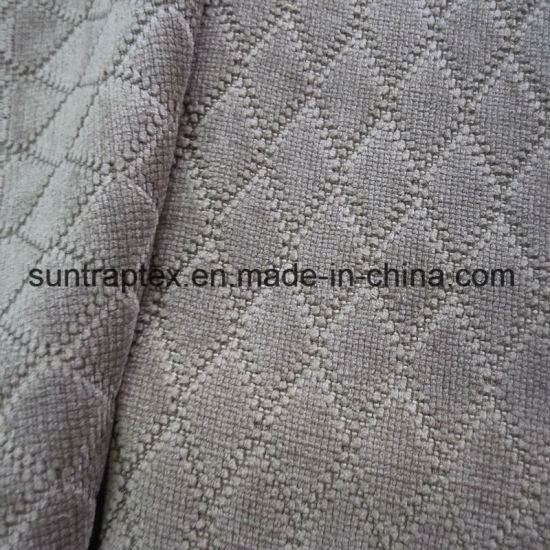 Polyester Jacquard Diamond Corduroy Fabric For Sofa /Dobby Knitted Sofa  Fabric