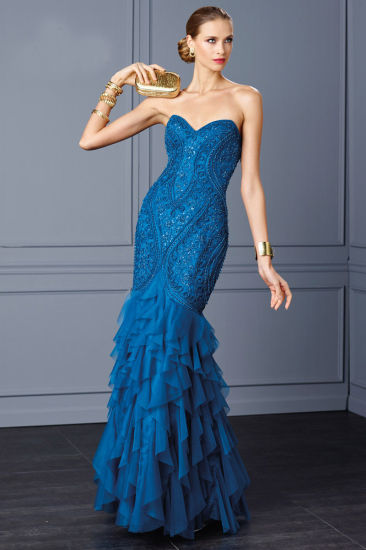 Royal Blue Beading Body Ruffled Mermaid Prom Gown Evening Dress