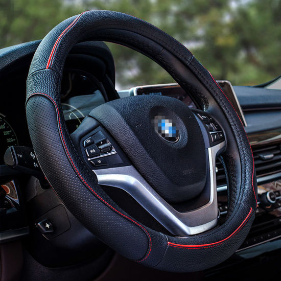 38cm 15inch Car Steering Wheel Cover Auto Pu Leather Soft Non Slip