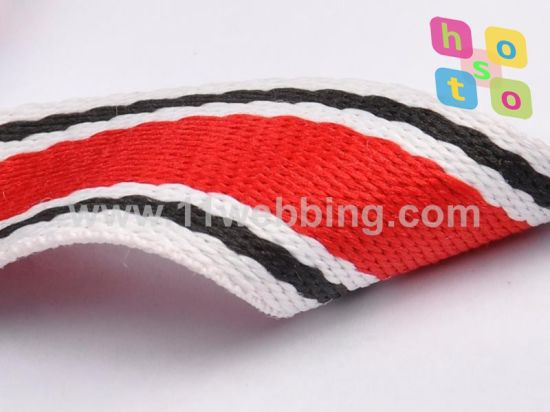 Striped Cotton Webbing/Poly-Cotton Webbing for Bag Handle Strap pictures & photos