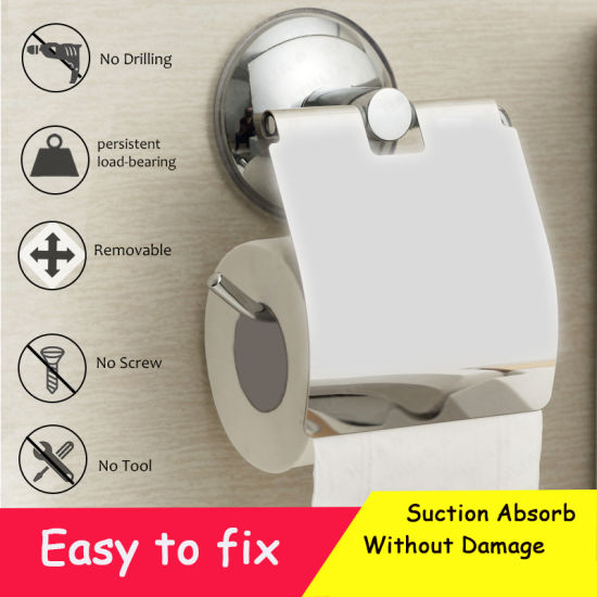 Vacuum Toilet Paper Holder Heavy Duty Suction Wall Mount Tissue Bathroom Accessories