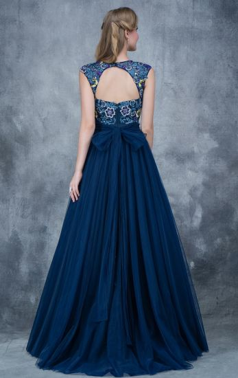 Cap Sleeves Party Fashion Dress Navy Tulle Evening Prom Dresses Z5028 pictures & photos