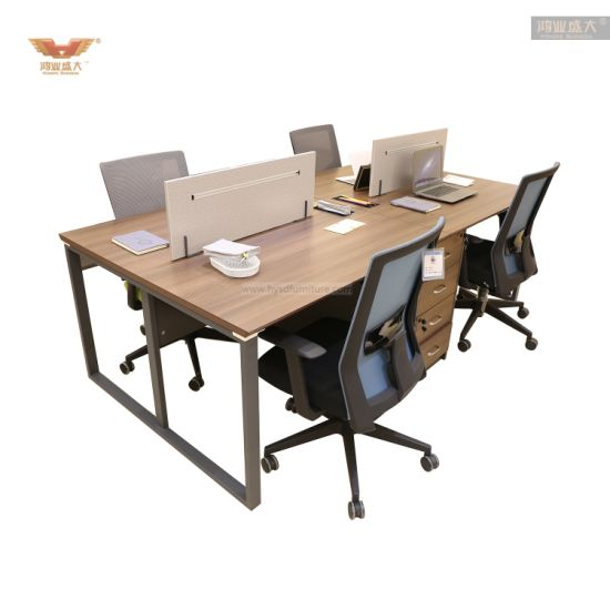 Modern Office Furniture Linear Shape 4 Seater Workstation Table with Cabinets