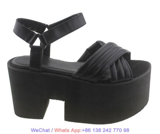 Women's Platform Casual Flats Leather Strap Flatform Wedge Sandal Shoes