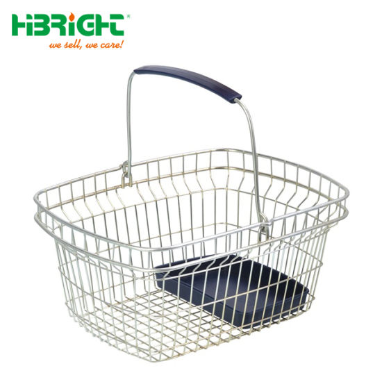 Plastic Shopping Basket x 10 in Black with Chrome Metal Stacker Stand