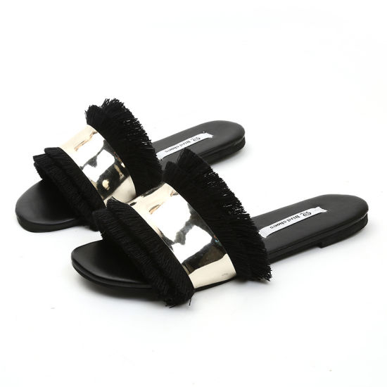 99a8e558dc0c Womens Fringe Tassels Peep Toe Boho Flat Sandals Beach Shoes. Get Latest  Price