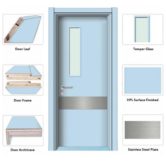 Interior Hospital School Soundproof Wood Door Glass Panel Door In Fashion  Design (HD TR 012)