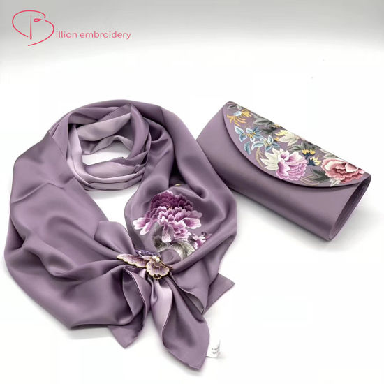 Silk Scarf and Bag with Handmade Embroidery Gift for Ladies Shawl